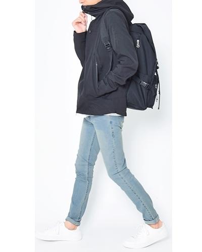 フードジャケットでスポーティーに☆D COLLECTIONのアンクル丈スキニーデニムコーデ